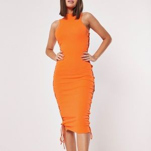 Missguided Ribbed Lace Up Side Midaxi Dress